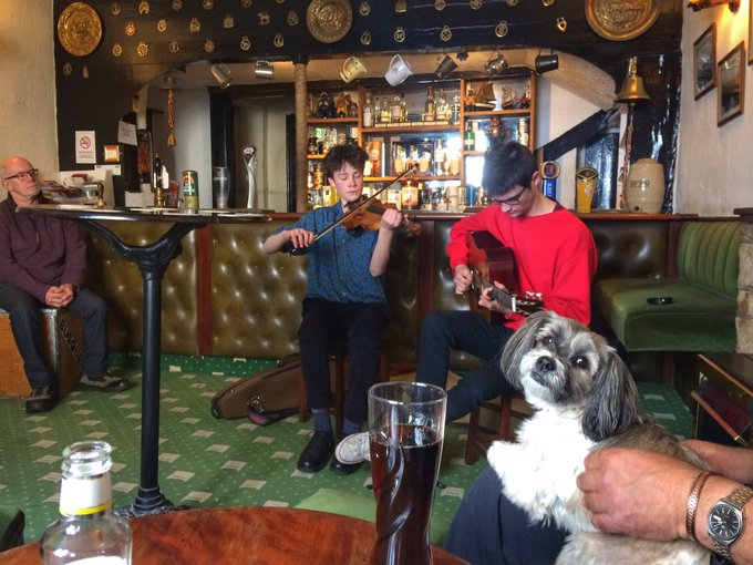 duo playing violin and guitar in pub at Filey folk festival