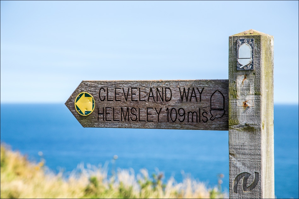 wooden direction sign for the Cleveland Way