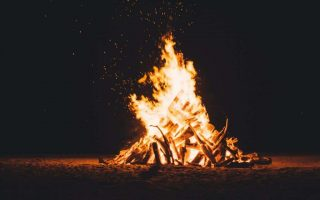 Bonfire burning