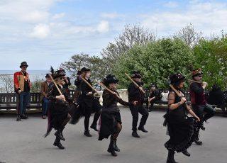 Morris dancers at Filey Steampunk Festival