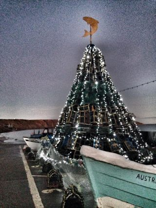Christmas tree on Coble Landing, Filey