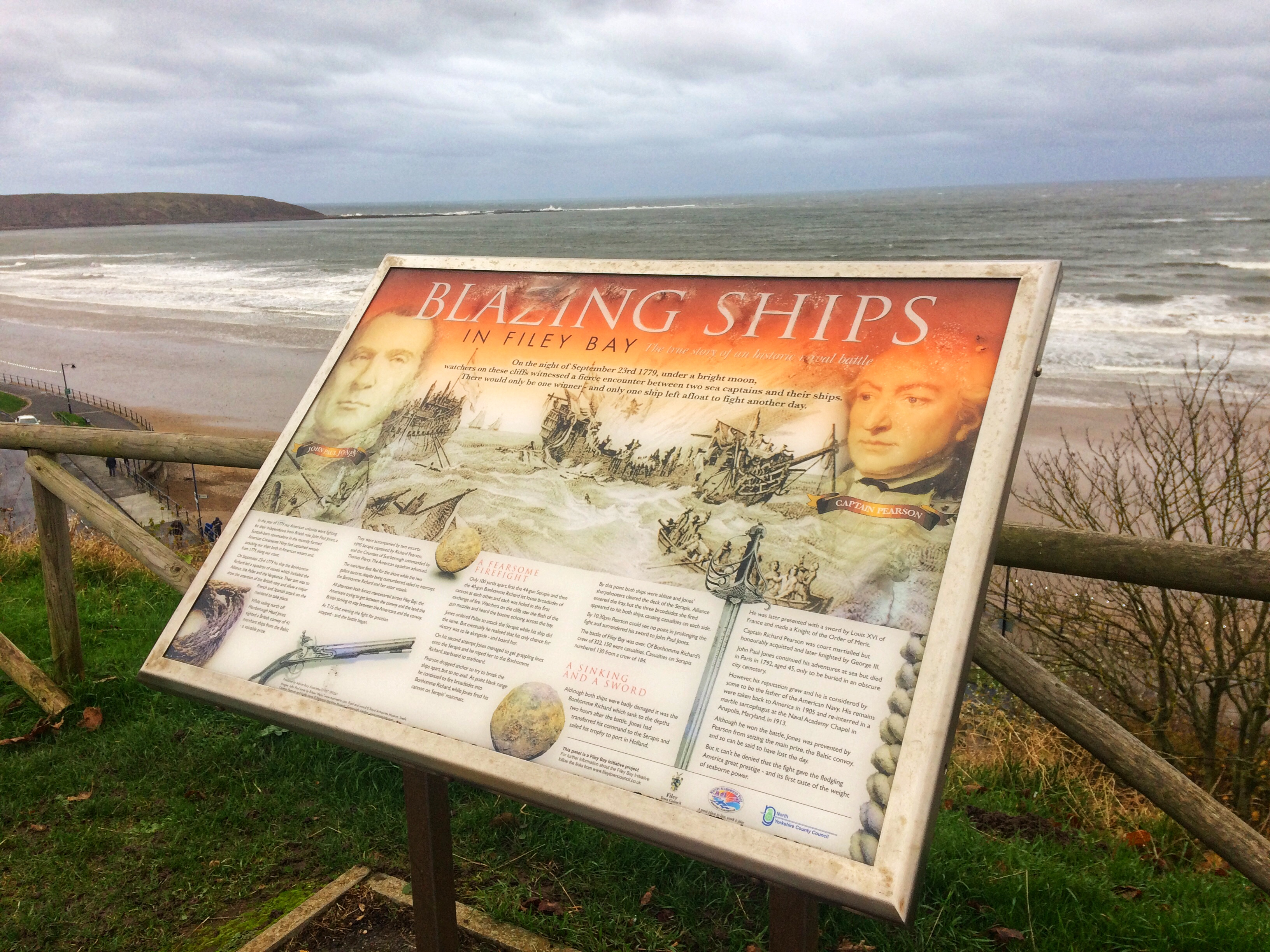 Story board over looking Filey Bay explaining Battle of Flamborough Head