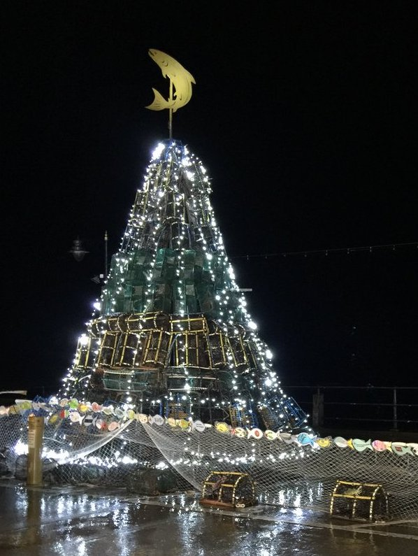Filey's Fishtive Tree lit after dark