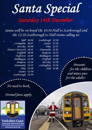 Poster showing times of Santa special train