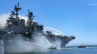 USS Bonhomme Richard on fire