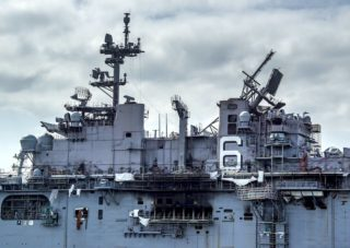 Fire damaged USS Bonhomme Richard